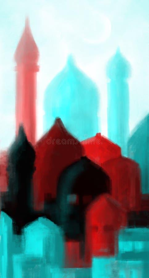Meczet barwione sylwetki ilustracja wektor