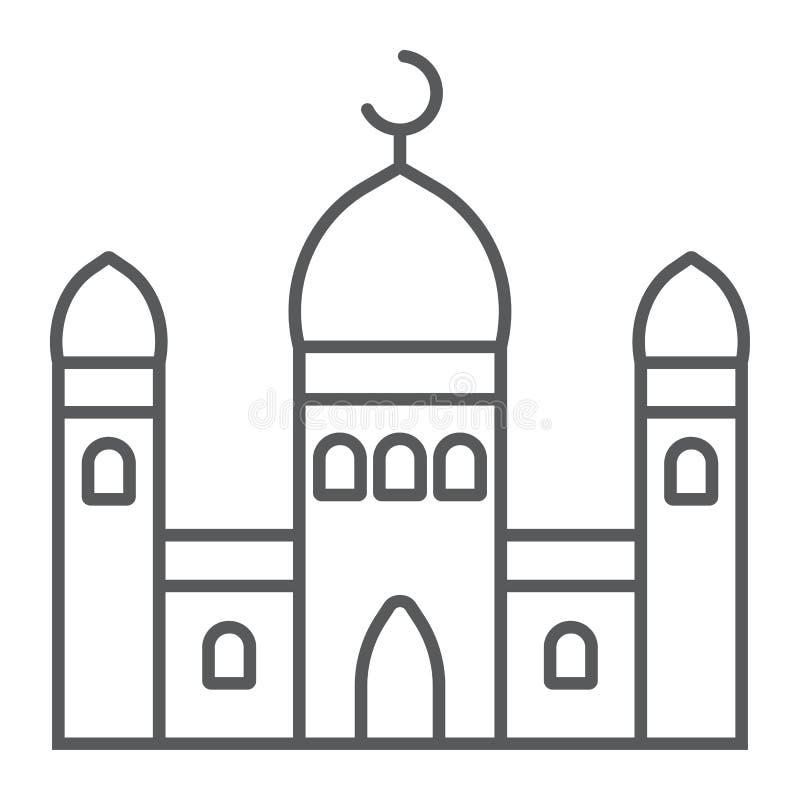 Meczet cienka kreskowa ikona i religia, islamski, buduje znaka, wektorowe grafika, liniowy wzór na białym tle ilustracji