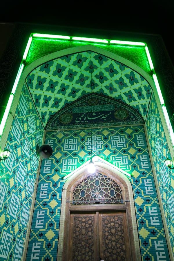 Meczet przy nocą z zielonymi światłami obraz royalty free