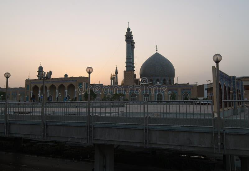 Meczet w Qom Wschód słońca w Iran zdjęcia stock