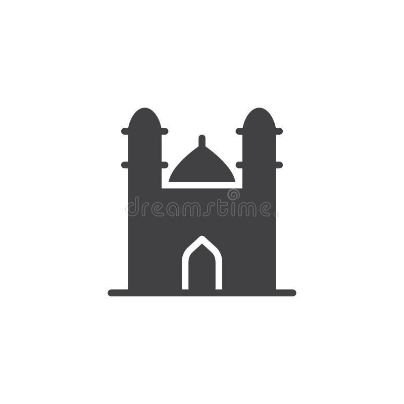 Meczet z minaretem góruje ikona wektor royalty ilustracja