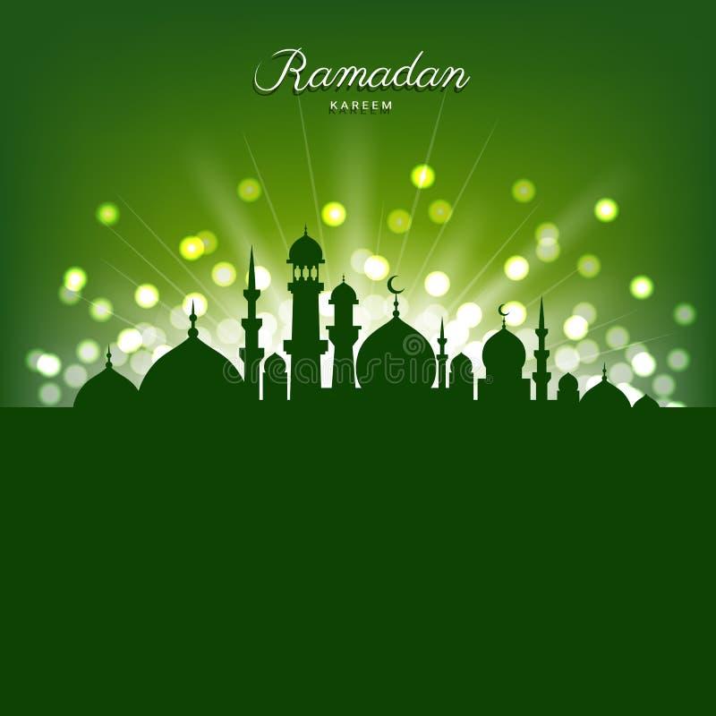 Meczetowa sylwetka i abstrakt zaświecamy dla Ramadan islam ilustracji