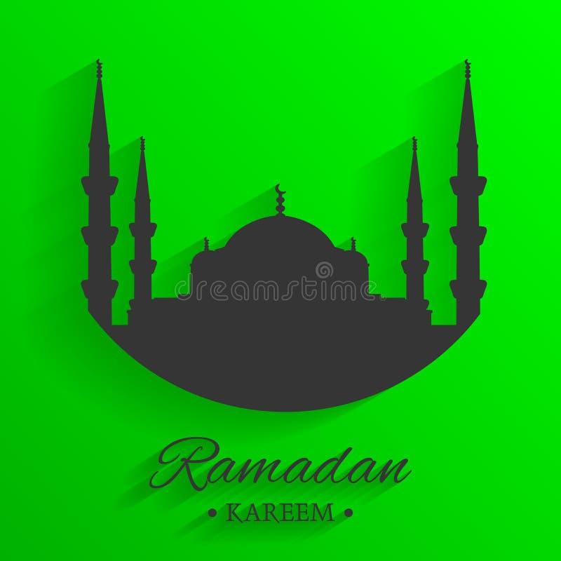 Meczetowa sylwetka i pisać Ramadan kareem z zielonym tłem, islamski wzór, wektor ilustracja wektor