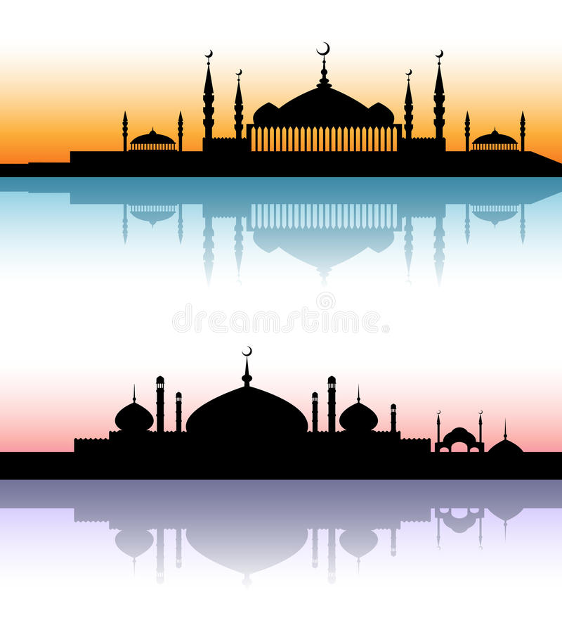 Meczetowi architektur sylwetek zmierzchu pejzaże miejscy ilustracji