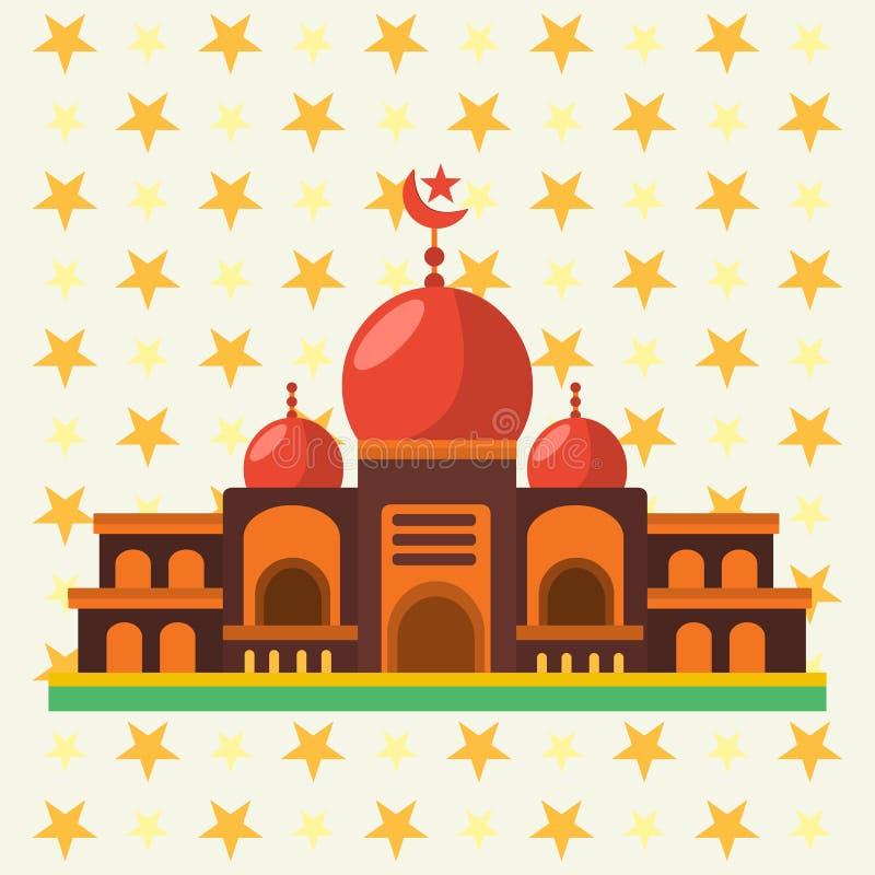 Meczetowy budynek z gwiazdą na tło wektoru ilustracji ilustracji