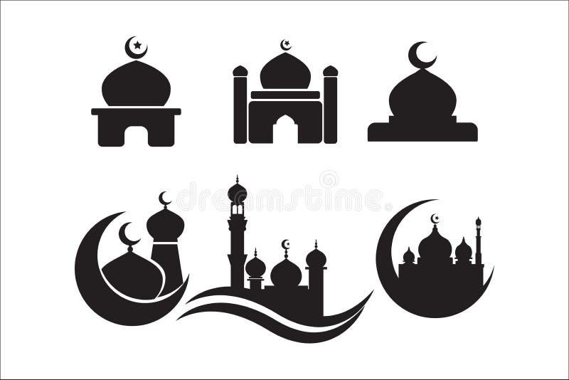 Meczetowy ikona set meczetowe ikona wektoru ikony ilustracji