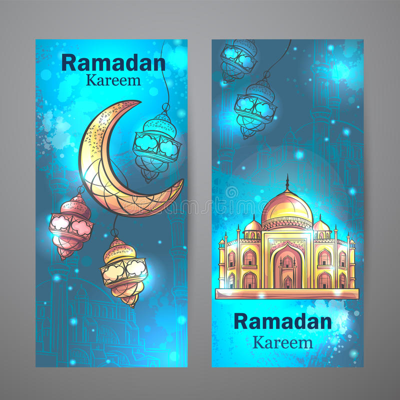 Meczetowy Ramadan Kareem i półksiężyc księżyc vertical sztandary royalty ilustracja