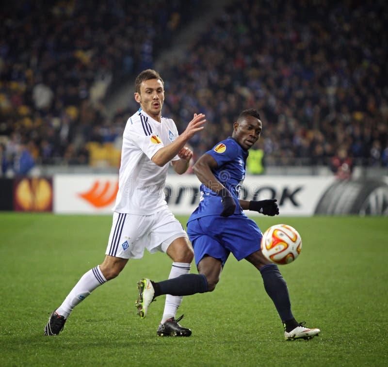 Meczu futbolowego FC dynamo Kyiv vs FC Everton zdjęcia royalty free