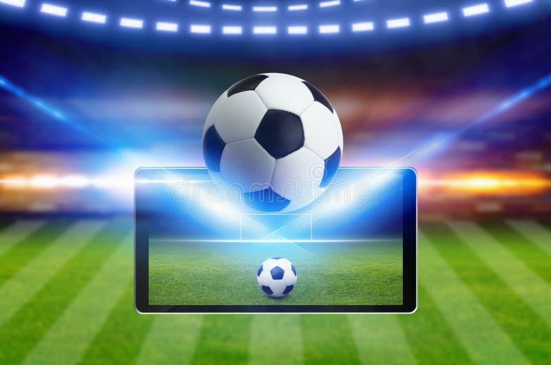 Meczu piłkarskiego online pojęcie, zielony boisko do piłki nożnej, jaskrawy światło reflektorów royalty ilustracja