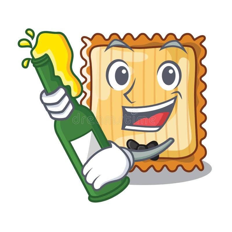 Med öl tjänas som lasagne i tecknad filmplattor stock illustrationer