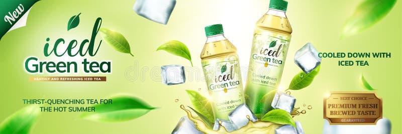 Med is annonser för grönt te royaltyfri illustrationer