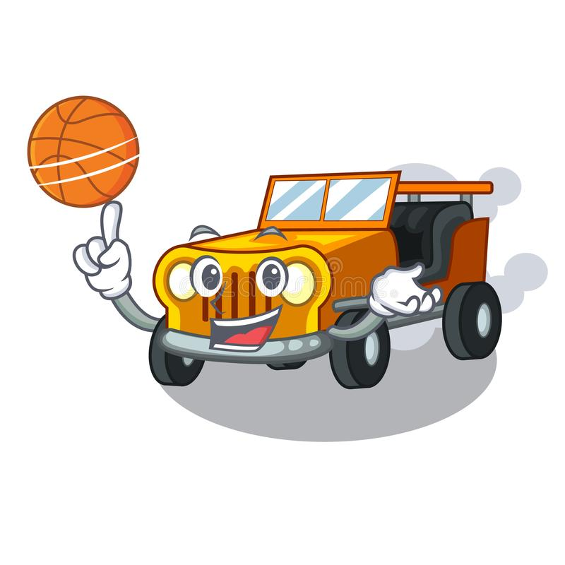 Med basketjeepbilen som isoleras med tecknade filmen vektor illustrationer