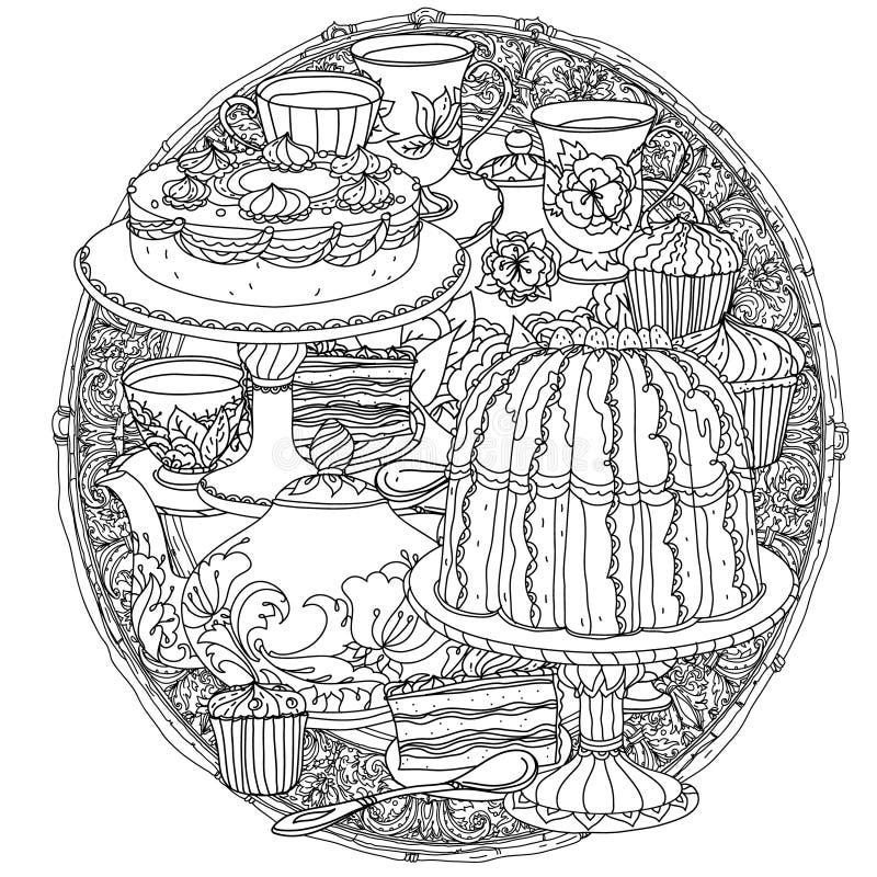 Med beståndsdelar av tid för te vektor illustrationer