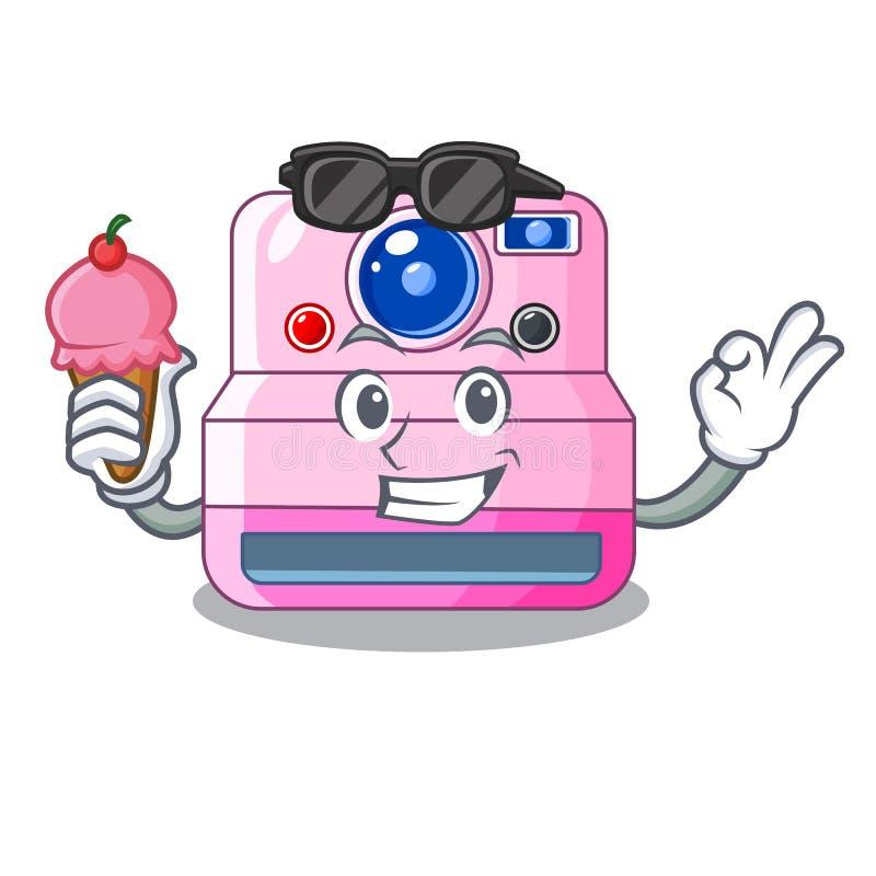 Med den ögonblickliga kameran för glass med upphäva tecknad filmbilden stock illustrationer