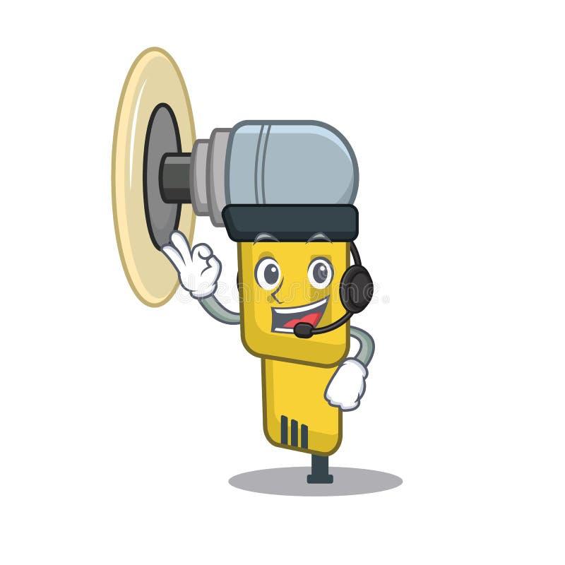 Med den pneumatiska slipmaskinen för headphone som förläggas inom teckenasken stock illustrationer