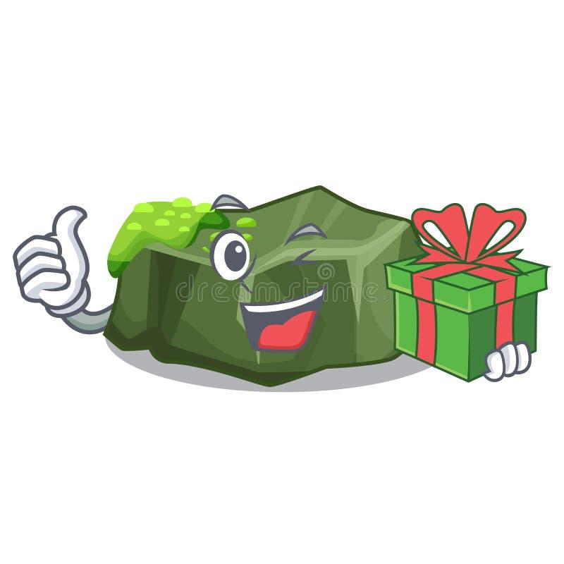 Med den stora stenen för gåvatecknad film som täckas med grön mossa royaltyfri illustrationer