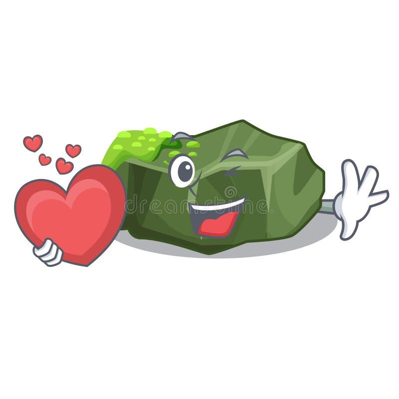 Med den stora stenen för hjärtatecknad film som täckas med grön mossa royaltyfri illustrationer