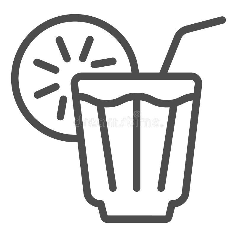 Med is drinklinje symbol Lemonadvektorillustration som isoleras på vit Kall design för teöversiktsstil som planläggs för rengörin stock illustrationer