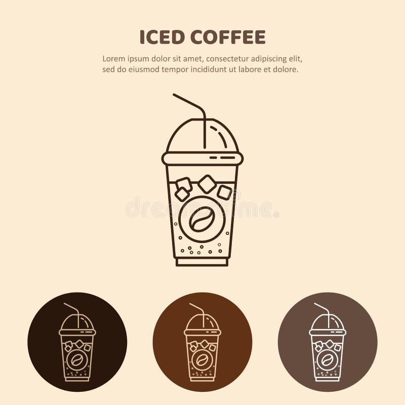 Med is drinkvektorsymbol Den linjära restaurangen, shoppar pictogramen stock illustrationer
