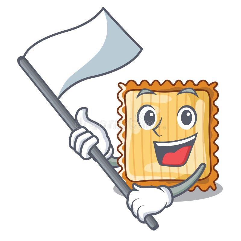Med flaggan tjänas som lasagne i tecknad filmplattor stock illustrationer