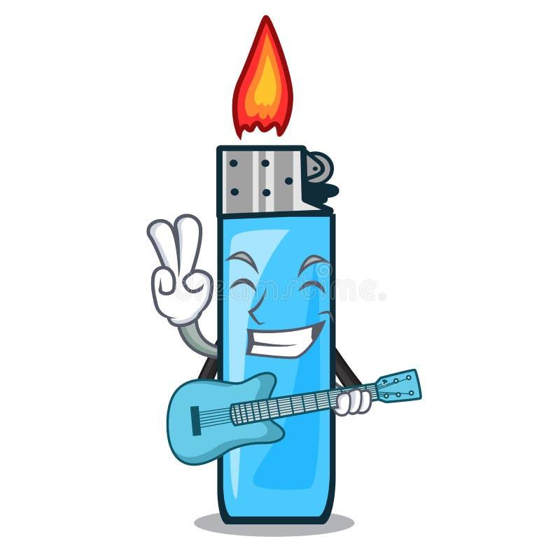 Med gitarren förlade plast- tändare maskotfacket stock illustrationer