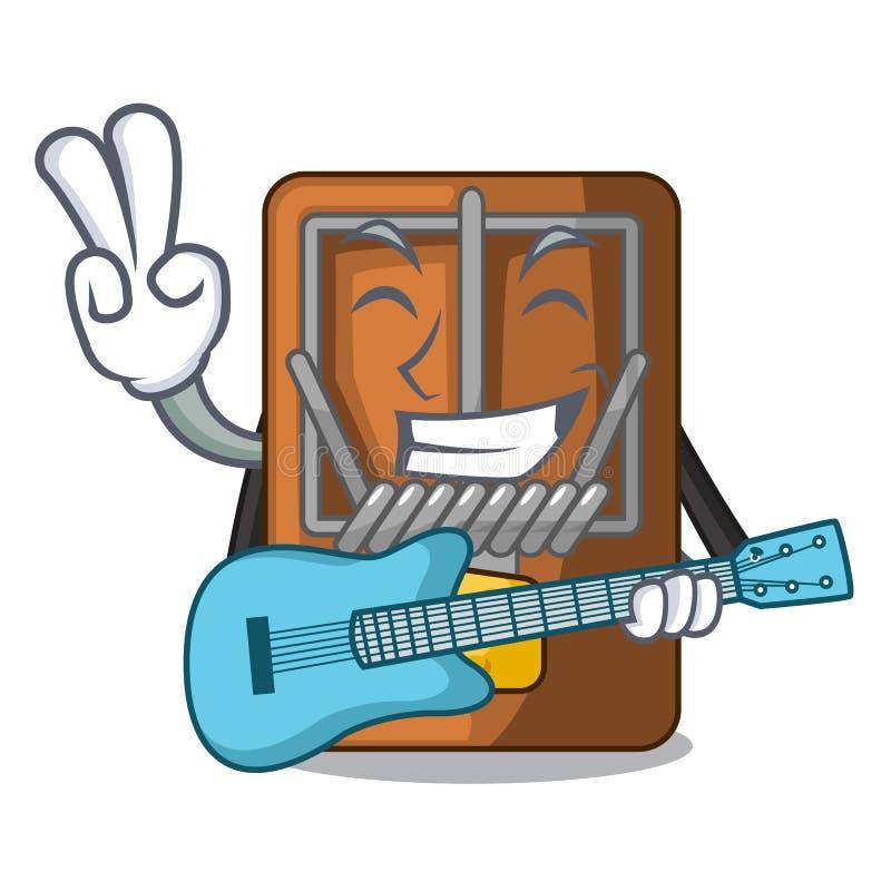 Med gitarrråttfällan som isoleras med i tecknade filmen vektor illustrationer