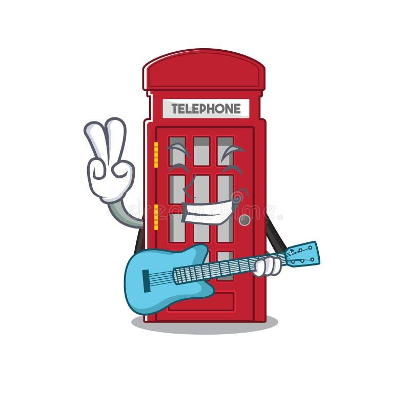 Med guitar miniatyrbås ovanför karikatyrbordet royaltyfri illustrationer