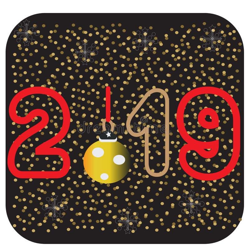 2019 med guld- Christmassnowflakes på en svart bakgrund Kortdesign för lyckligt nytt år Mapp för vektorillustrationEps 10 vektor illustrationer