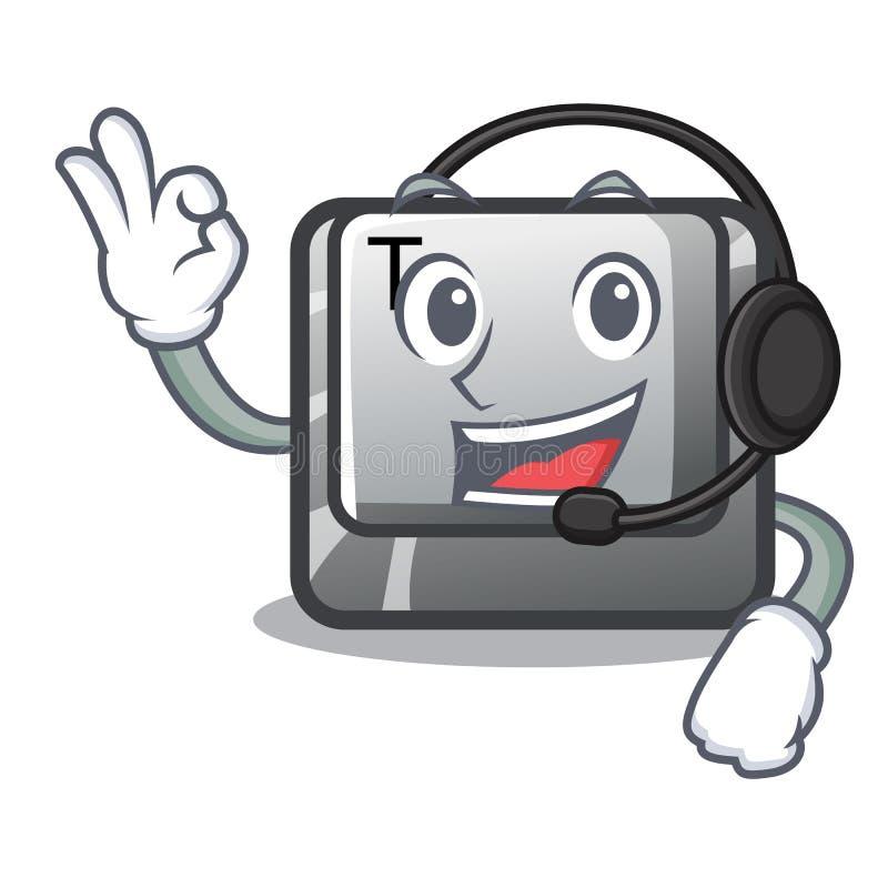 Med headphoneknapp T i maskotformen vektor illustrationer