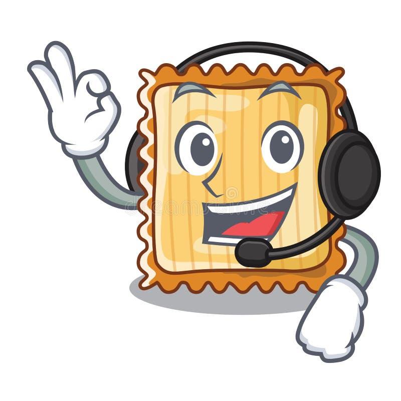 Med headphonen tjänas som lasagne i tecknad filmplattor vektor illustrationer