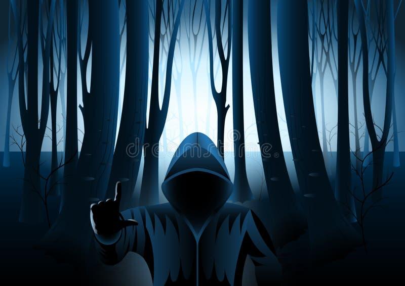 Med huva man i mörk mystisk skog stock illustrationer