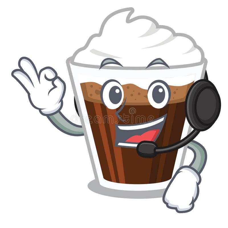 Med irländsk coffe för headphone i teckenformen vektor illustrationer