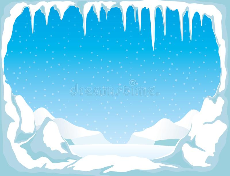 Is med istappar och snö royaltyfri illustrationer