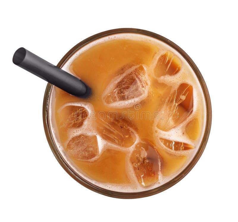 Med is kaffe med dricka sugrör arkivfoton