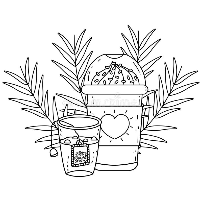 Med is kaffe rånar och designen för teexponeringsglasvektor stock illustrationer