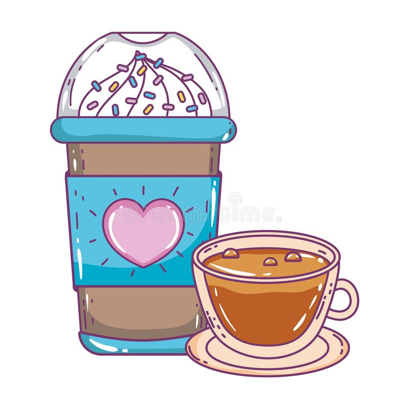 Med is kaffe rånar och kuper vektordesign vektor illustrationer