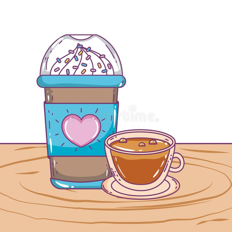 Med is kaffe rånar och kuper vektordesign royaltyfri illustrationer