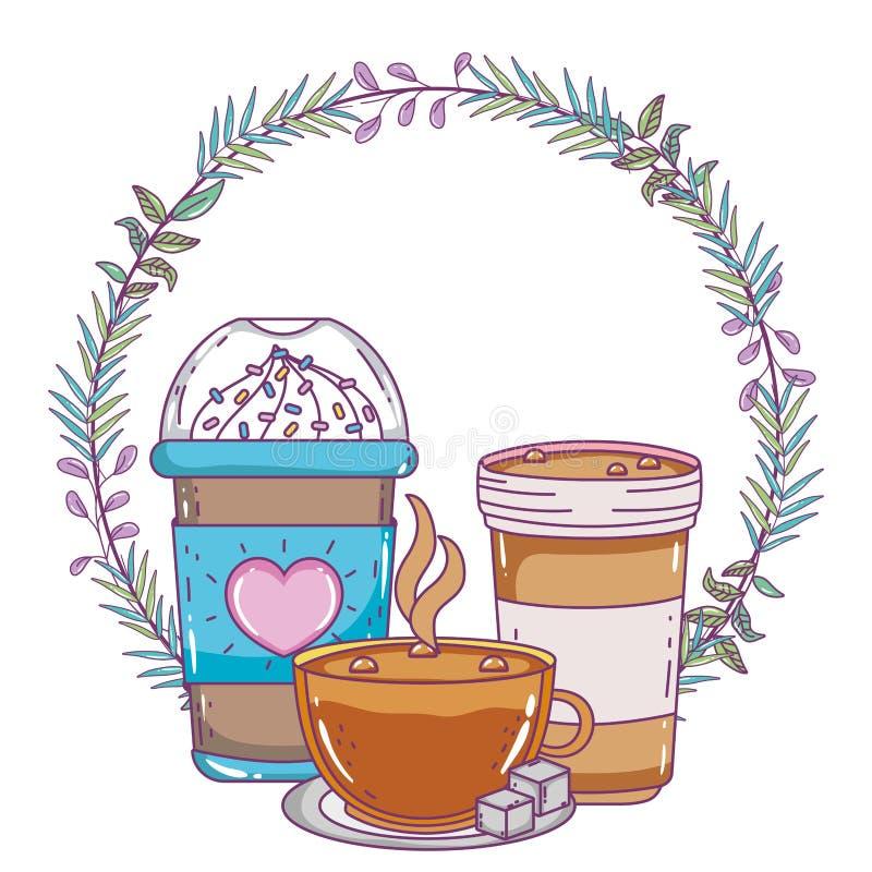 Med is kaffe rånar och kuper vektordesign stock illustrationer