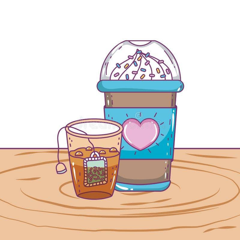 Med is kaffe rånar och tevektordesignen royaltyfri illustrationer