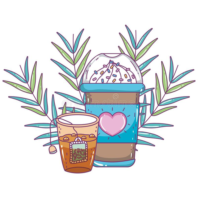 Med is kaffe rånar och tevektordesignen stock illustrationer