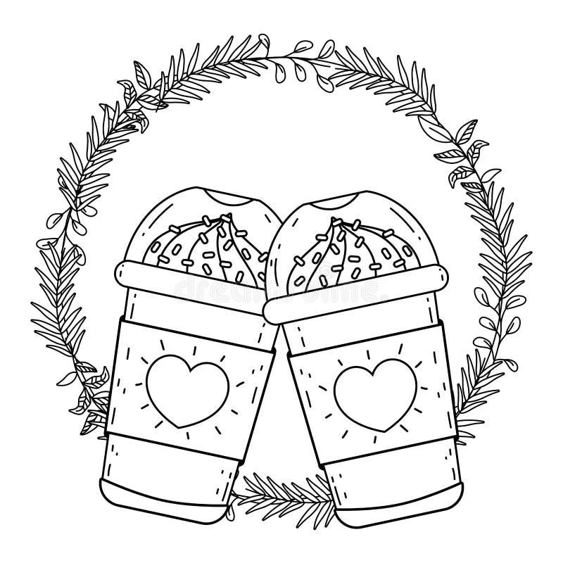 Med is kaffe rånar vektordesign vektor illustrationer