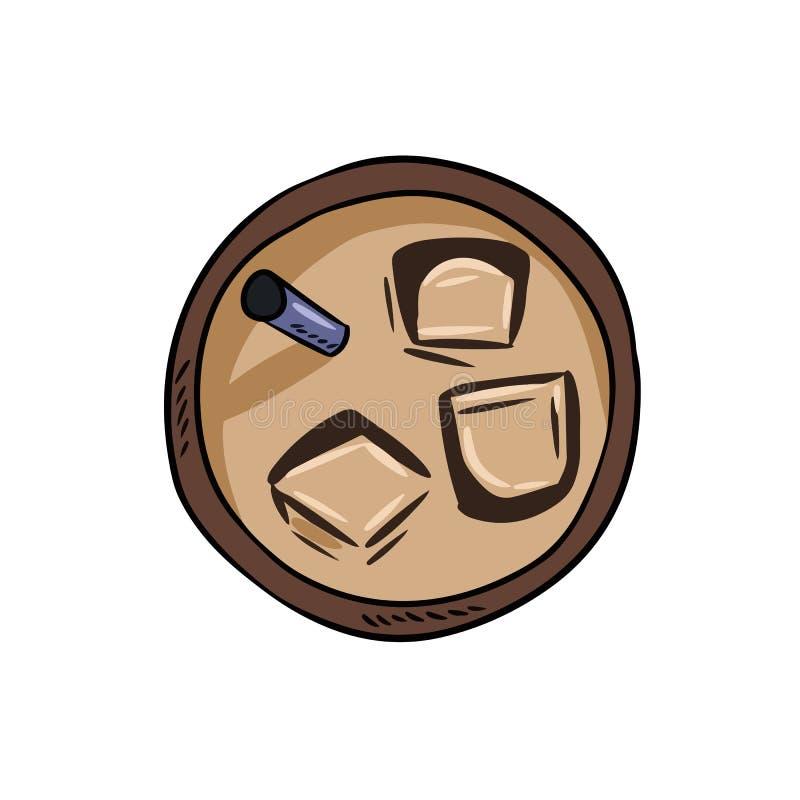 Med is kall drinkkopp kaffe eller te För tecknad filmstil för hand utdragen bild stock illustrationer