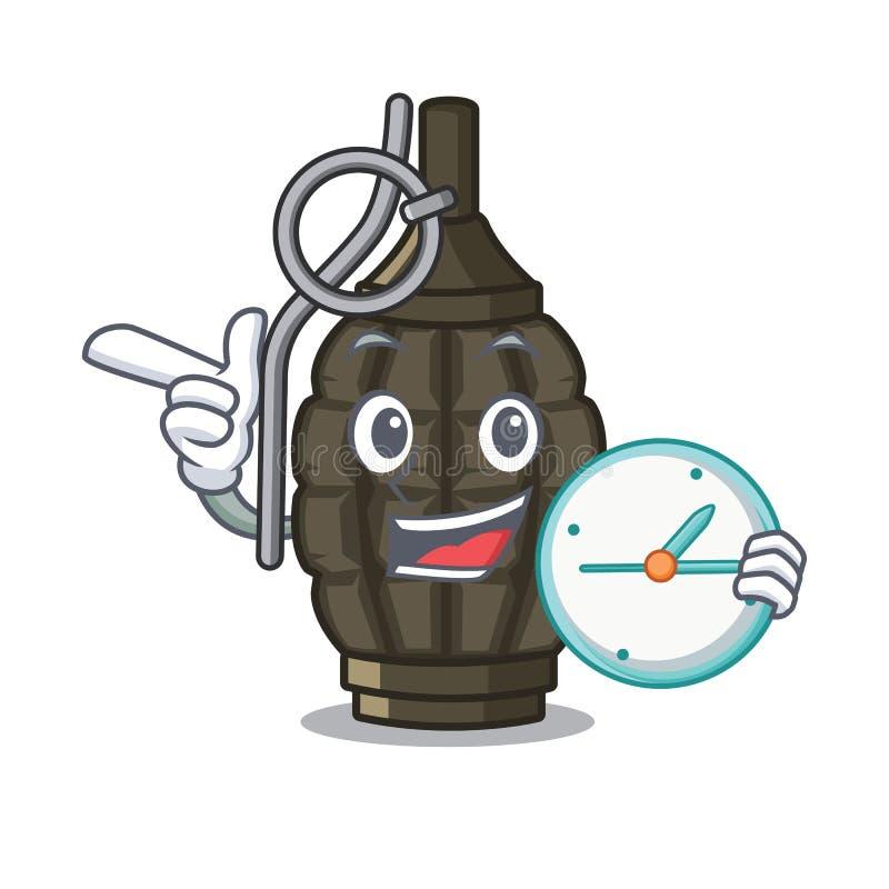 Med klockagranaten i a-maskotformen stock illustrationer
