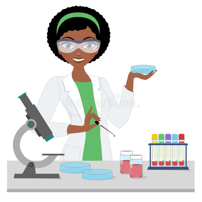 Med Lab Woman stock illustrationer