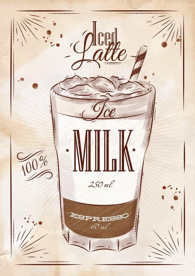 Med is latte kraft för affisch vektor illustrationer