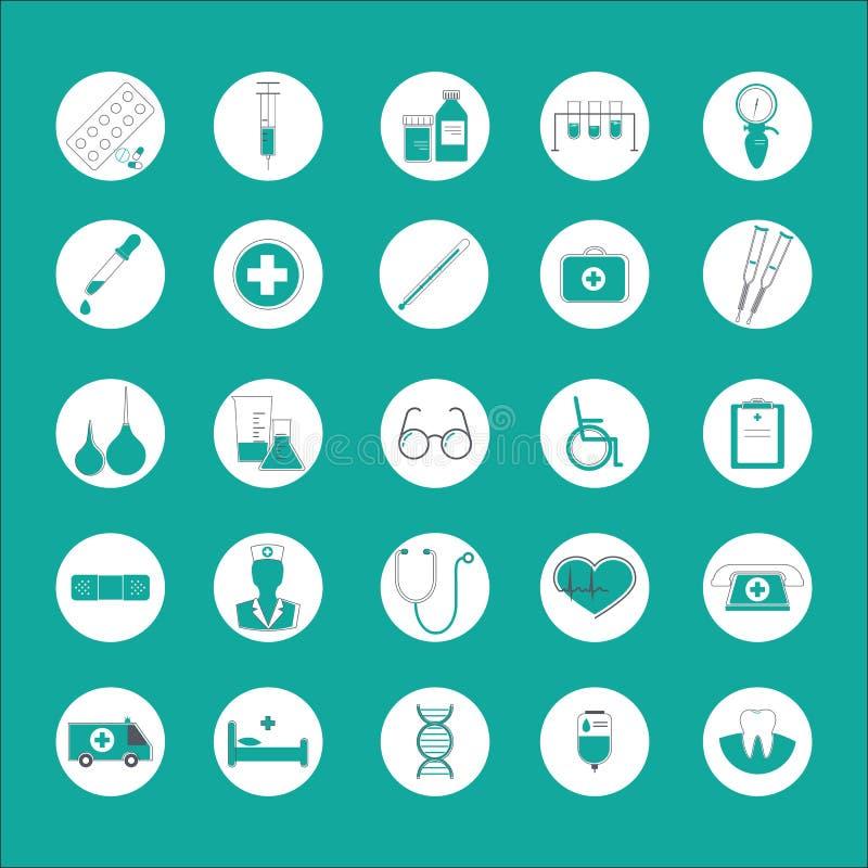 med Le icone piane hanno messo delle medicine, i sistemi diagnostici, il trattamento, sanità illustrazione di stock