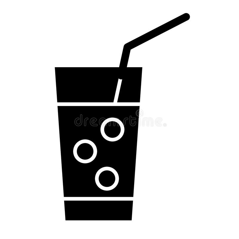 Med is lemonadheltäckandesymbol Exponeringsglas av lemonad med sugrörvektorillustrationen som isoleras på vit Design för drinkskå royaltyfri illustrationer