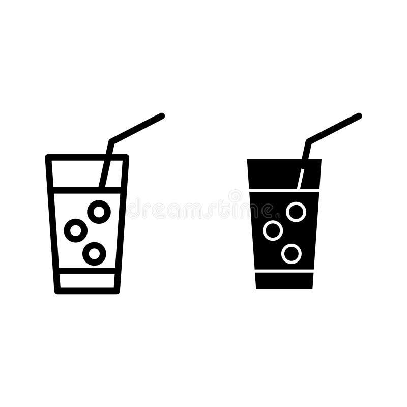 Med is lemonadlinje och skårasymbol Exponeringsglas av lemonad med sugrörvektorillustrationen som isoleras på vit Drinköversikt vektor illustrationer