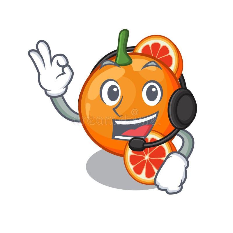 Med orange blod för headphone som isoleras i teckenet stock illustrationer