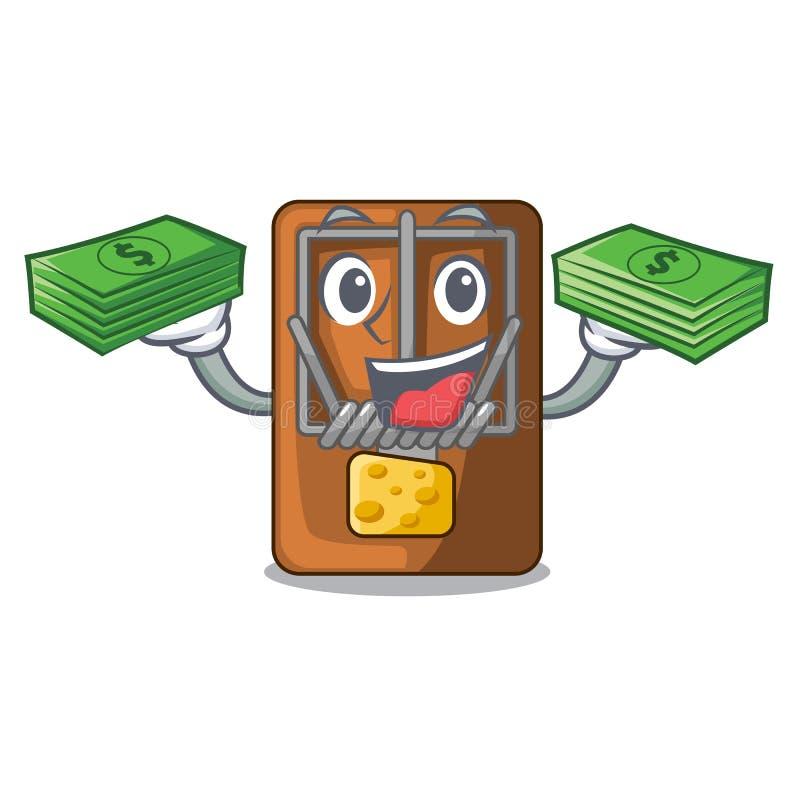 Med pengarpåseråttfällan som isoleras med i tecknade filmen royaltyfri illustrationer